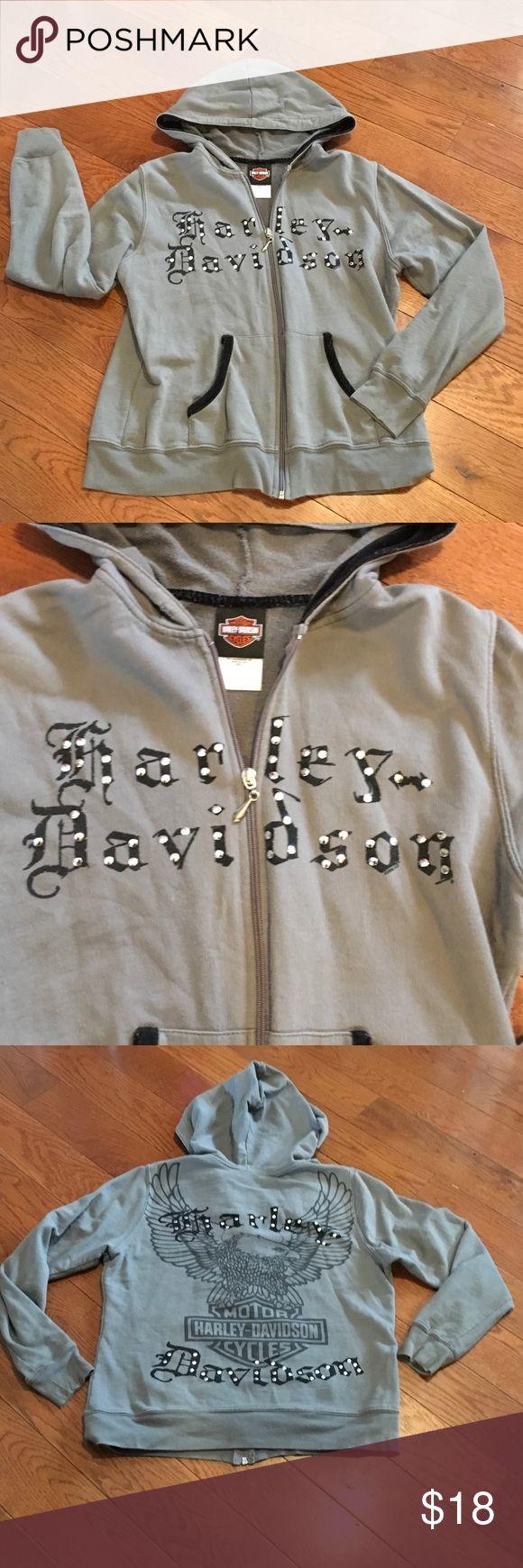 Harley Davidson studded jacket 😎 Harley Davidson jacket- size medium. 100%cotton. Has a hood (string gone) and HD graphics on the back with studs. Harley-Davidson Jackets & Coats Utility Jackets