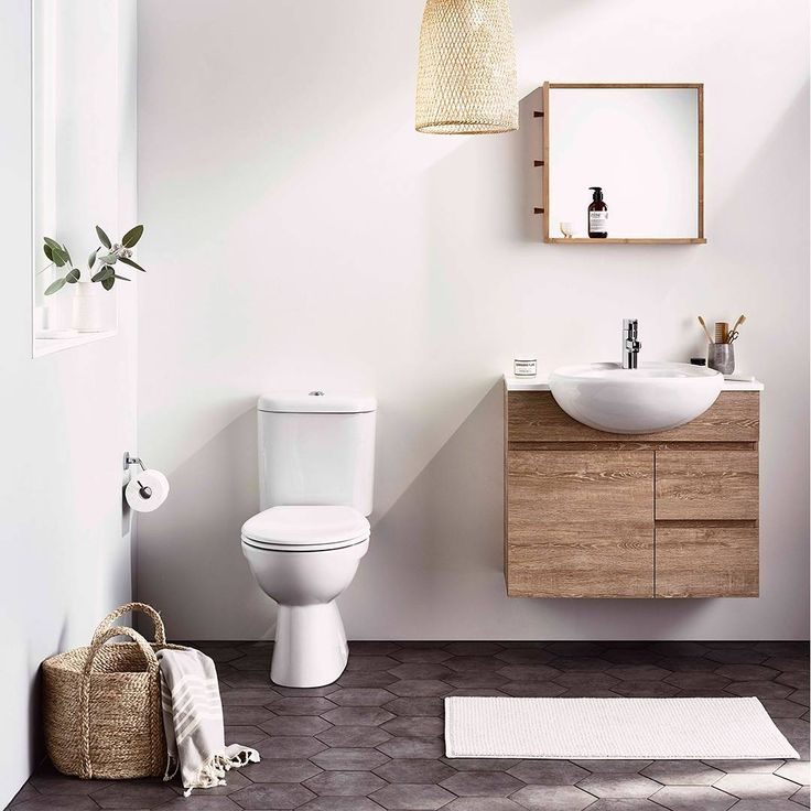 Timber-look finishes are a great way to add a bit of luxe to a bathroom space. It's a great accent and this cute ADP Essence vanity unit is a great example. Space-saving too!