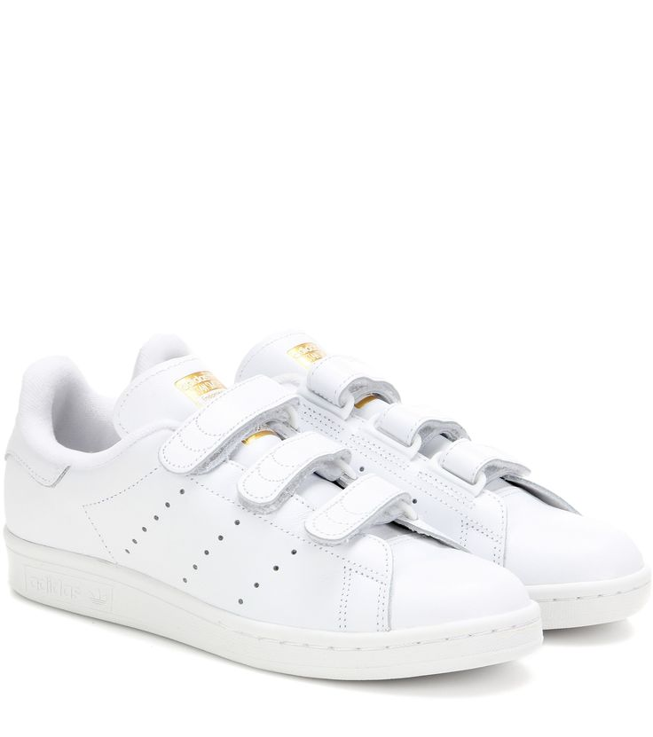 Adidas - Stan Smith leather sneakers - We love Adidas's 'Stan Smith'  sneakers, updated with smooth white leather with metallic gold-tone accents  for a ...