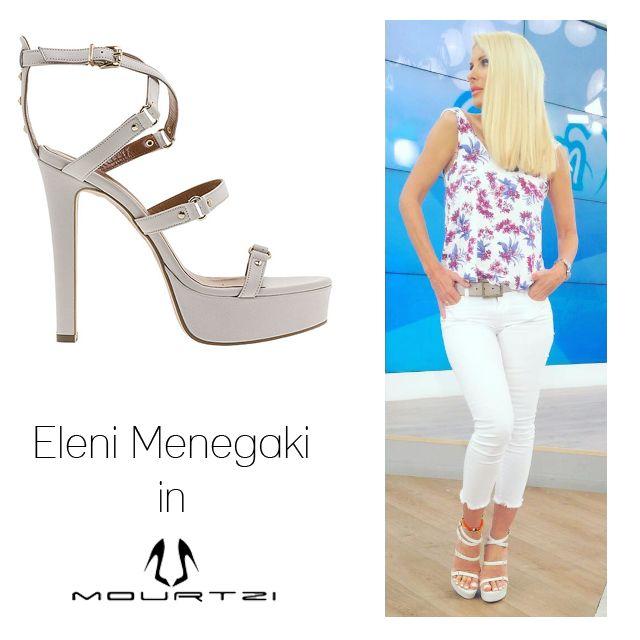 ΕΛΕΝΗ ΜΕΝΕΓΑΚΗ Eleni Menegaki in Mourtzi shoes www.mourtzi.com #eleni #mourtzi #sandals