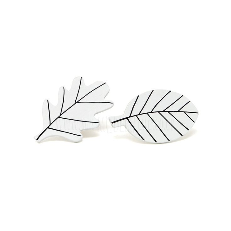 Wall Hooks . Set Of Two - White Leaves