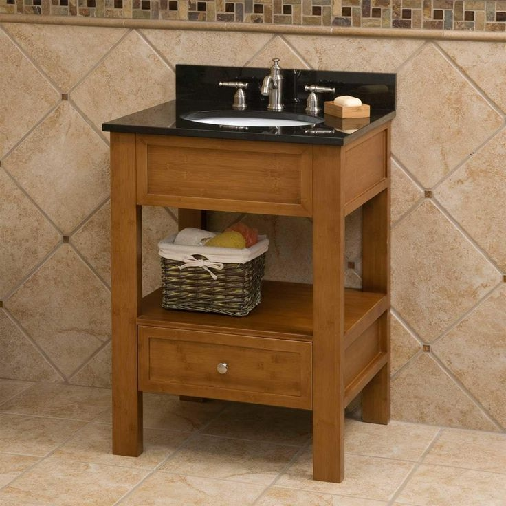 "24""+Milforde+Bamboo+Console+Vanity+for+Undermount+Sink+"