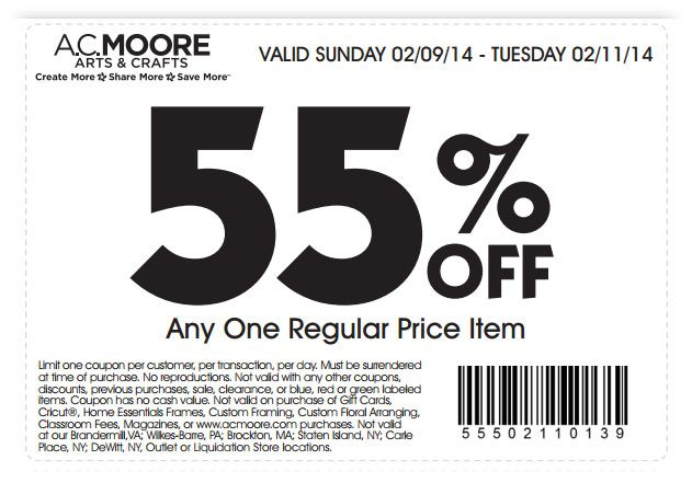 ac moore 55 off item printable coupon craft store coupons pinterest printable coupons coupon and ac moore