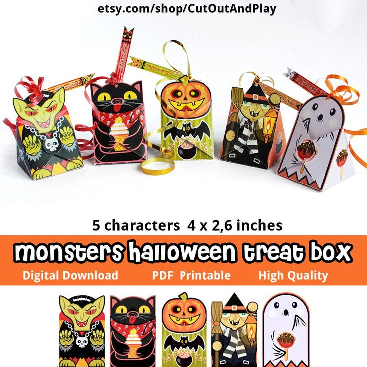 Halloween monsters printable favor boxes - good for kids party and birthday decorations, home decor, favor boxes, paper crafts. . #etsyshop #halloween #halloweenbox #favors #treatbox #favorbox #candybox #printablebox #homedecor #toys #decor #trickortreat #pumpkin #blackcat #witch #ghost #dracula #vampire #printables #party  #partyideas #girlparty  #birthday #partysupplies #kidsparty #partydecor #scary #spooky