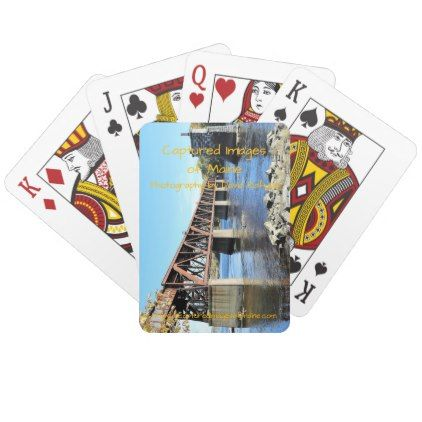 Railroad Bridge Over Kennebec River Augusta Maine Playing Cards - photography gifts diy custom unique special