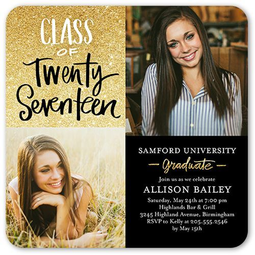 glistening grad 5x5 graduation party invitation graduation card