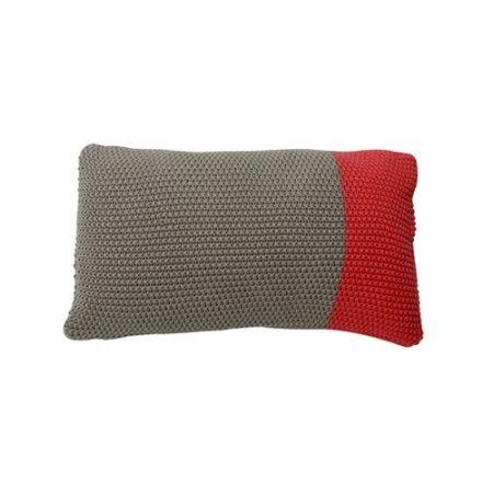 Kissen Block Farbe grau und Rosarot in Strickoptik von der Marke Light und Living 30x50 cm