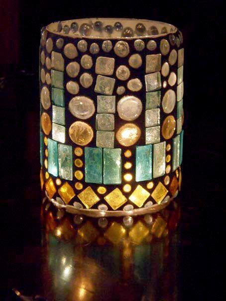 Lantern, hurricane lamp, stained glass mosaic luminaria, candle holder-RAIN. $85.00, via Etsy. #californiacasual