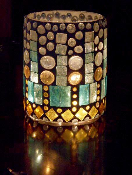 Lantern, hurricane lamp, stained glass mosaic luminaria, candle holder-RAIN. $85.00, via Etsy. #californiacasual