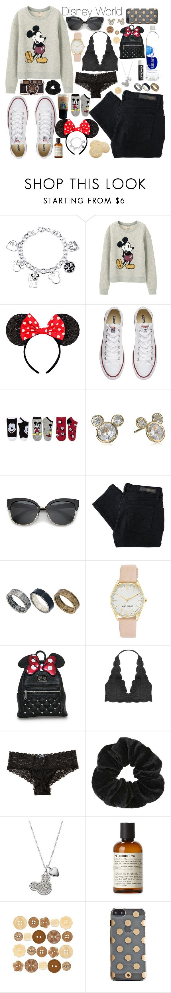 """""""Disney World Outfit 1"""" by gwynnieluree ❤ liked on Polyvore featuring Disney, Uniqlo, Converse, Nobody Denim, Just Acces, Nine West, Chapstick, Humble Chic, Hollister Co. and Miss Selfridge"""