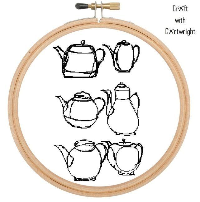 Teapots, coffee pots, cross stitch pattern £5.40 #folksyfriday