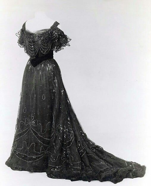 Spangled Tulle Evening Gown, ca. 1906-08