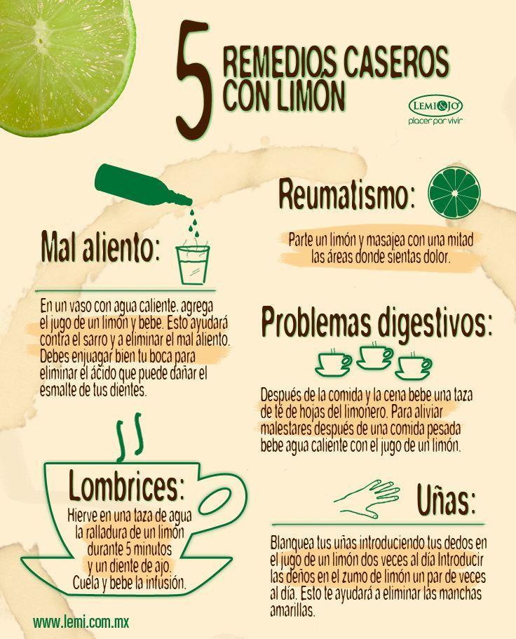 5 remedios caseros que puedes preparar con limón. #infografia #salud #cocina