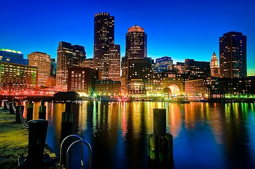 Boston Skyline at Dusk (by briburt)