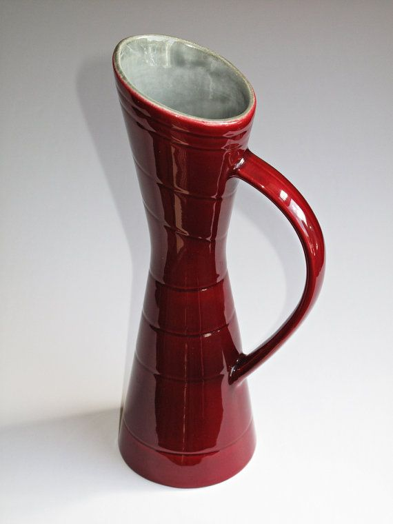 Rörstrand Handled Red Vase from the California Series Designed by Carl Harry Stålhane in 1952 Mid century Modern. £49.50