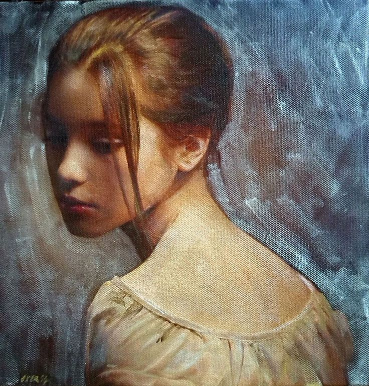 """""""Reminiscence' - William Oxer, acrylic on canvas; United Kingdom {contemporary figurative art brunette female shoulders back beautiful woman face portrait painting} #loveit <3"""