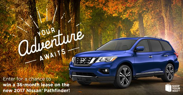 Enter for a chance to win a 36-month lease on the all new 2017 Nissan Pathfinder!