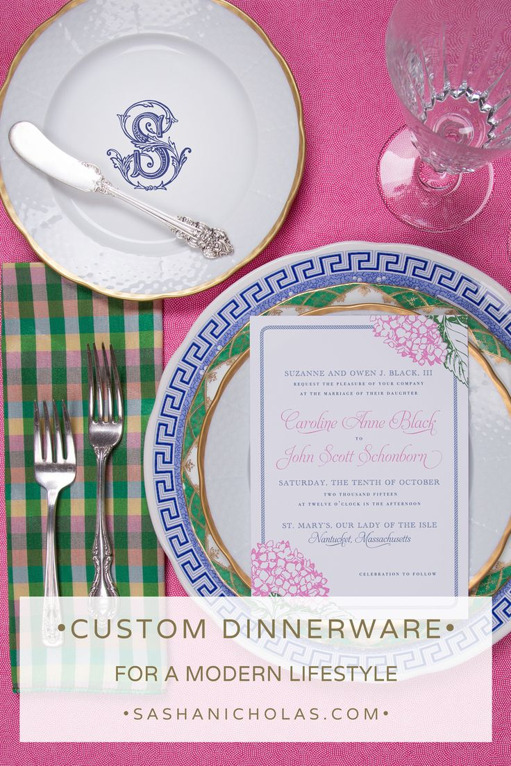 These classic dishes by Sasha Nicholas are perfect for wedding reception, registry or just because! 24 K gold rimmed-oven and dishwasher safe. Nantucket wedding invitation suite by the talented Abigail Christine Design Monogrammed Silk Napkin by Laurie Byrne Layered with vintage china and Spode Italian