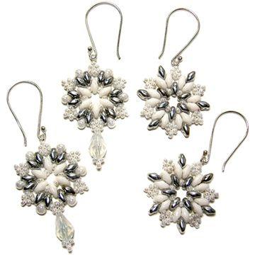 FREE SuperDuo Beaded Snowflake Earrings Patterns by Deborah Robert at Sova-Enterprises.com!