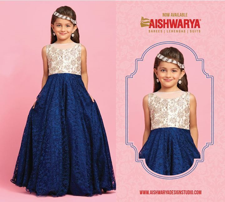 Little dolls can dress up in royal gowns now... Buy gowns online: http://www.aishwaryadesignstudio.com/kids%20wear/22111-fabulous-off-white-blue-color-floor-length-gown.aspx