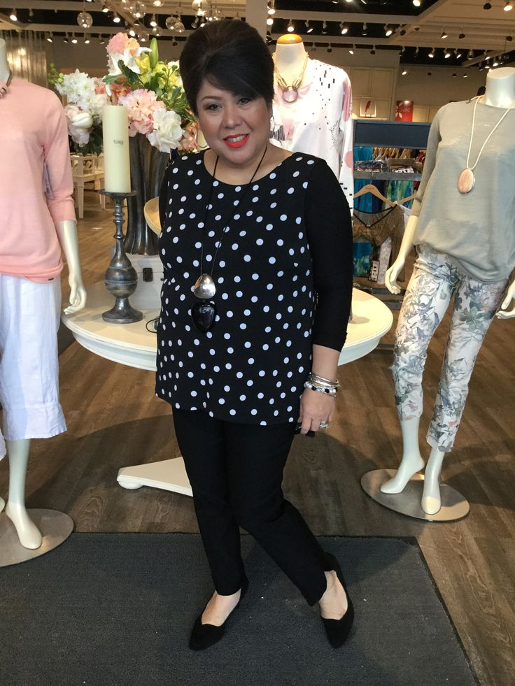"January 2018- ""Polka dots are beautiful"" states Nellie Frank Lyman tunic"