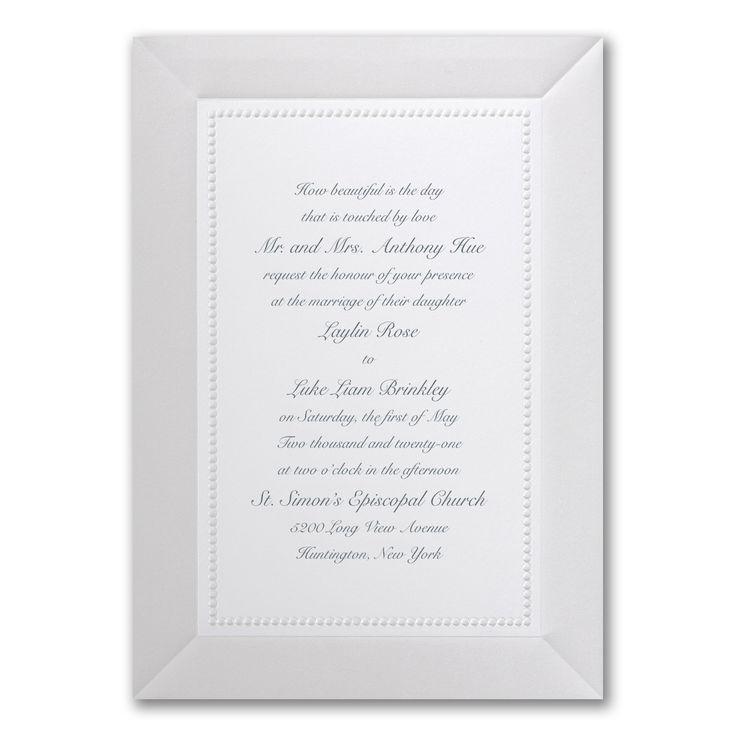 A bright white card invitation is adorned