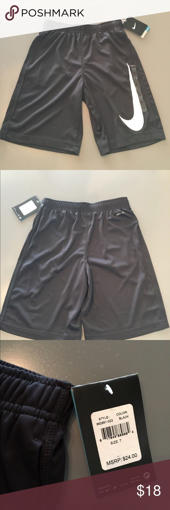 Boys Nike shorts, size 7, Dry Fit, NWT, MSRP $24 New with tags, Black boys Nike shorts. Size 7. MSRP $24 Nike Bottoms Casual