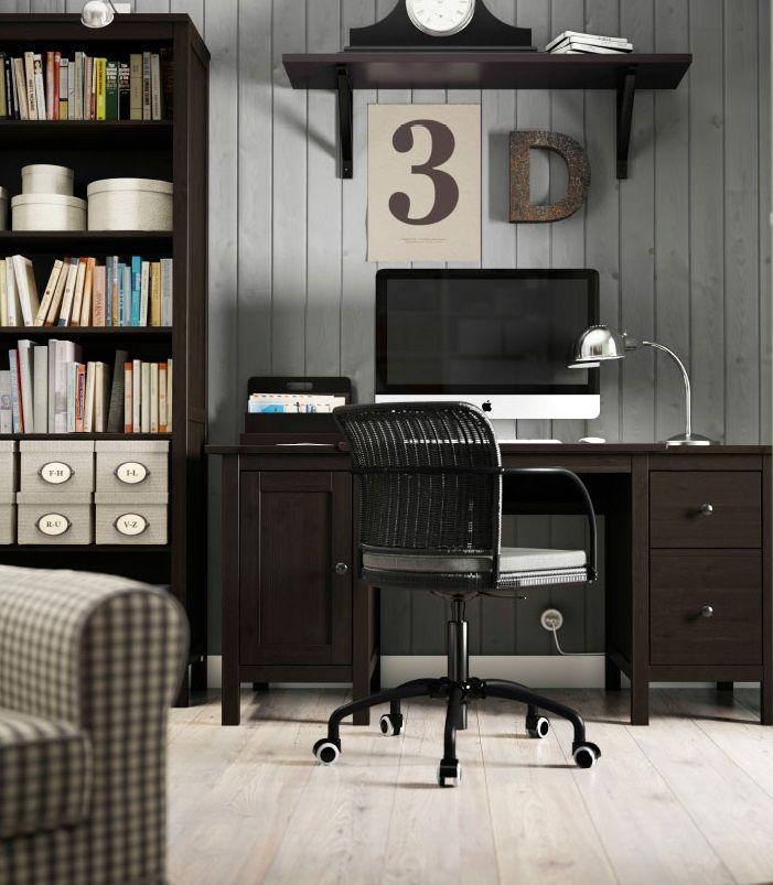 HEMNES Desk, black brown Cable, Extension cords and Tables