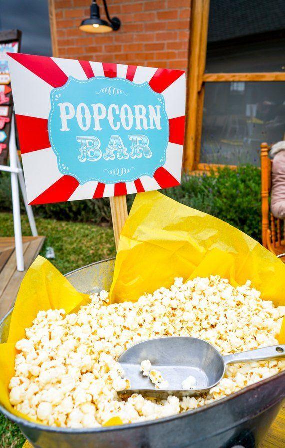 popcorn bar printables - popcorn bar sign - carnival signs