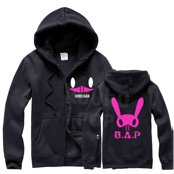 B.A.P Hoodie - Himchan  A colourful B.A.P hoodie featuring Himchan's Tatsmato! His face is printed on the front, with a large pink Matoki logo on the back. The hoodie zips up at the front and has roomy pockets.