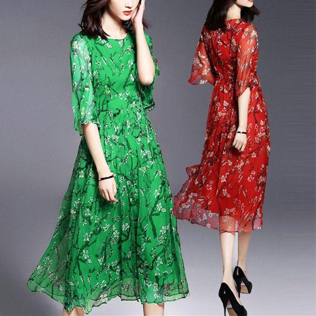 2016 estilo verão mulheres vestido longo O Neck impressão Floral Chiffon vestido Casual vestidos de festa