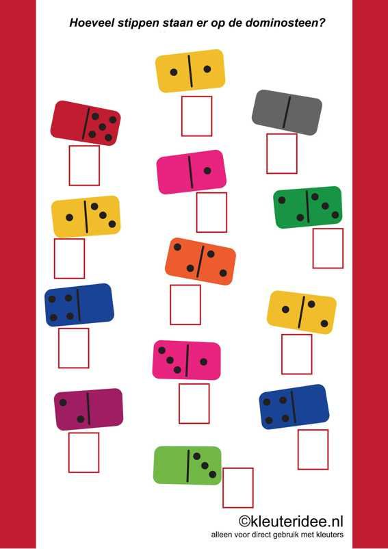 Hoeveel stippen staan er op de dominosteen, kleuteridee.nl ,how many dots are there on the domino, free printable.