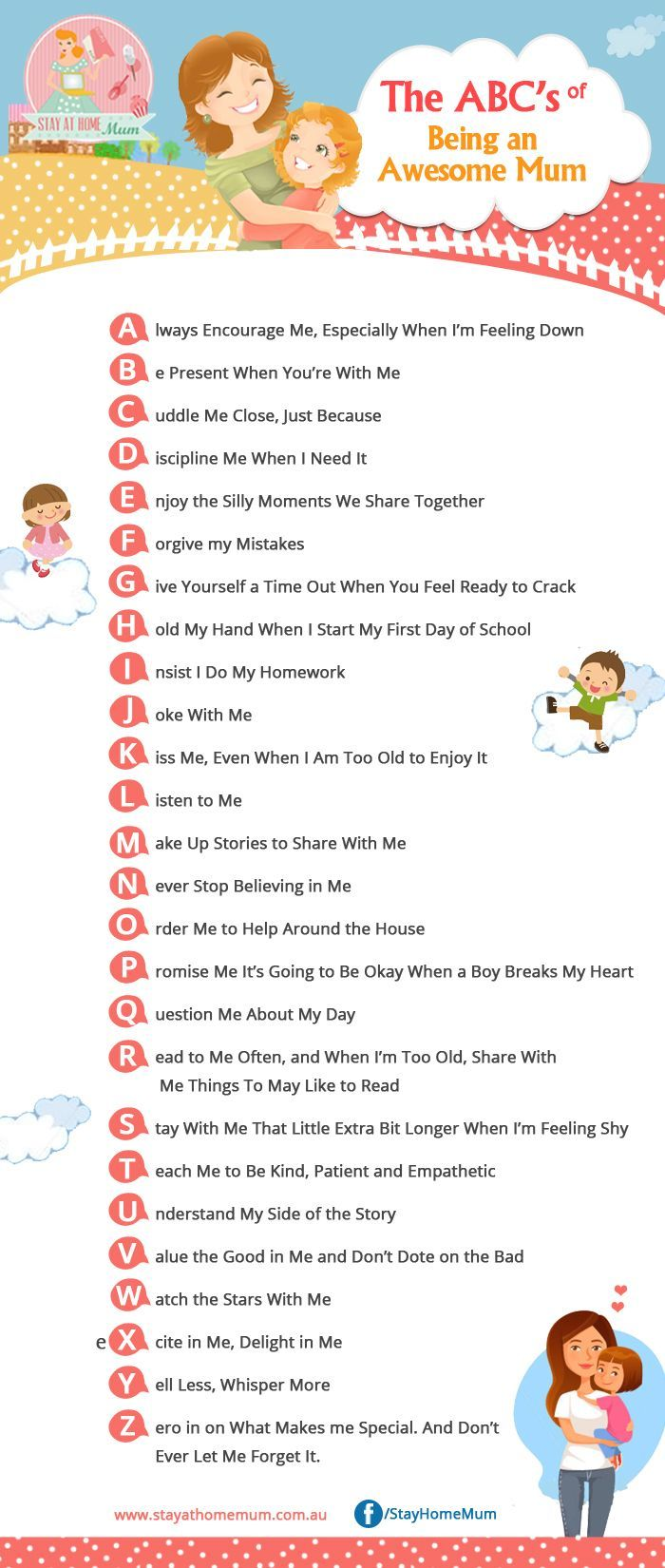 The ABCs of being an awesome Mum.  Just a reminder of the little things that we can do to show our children how much we love them.