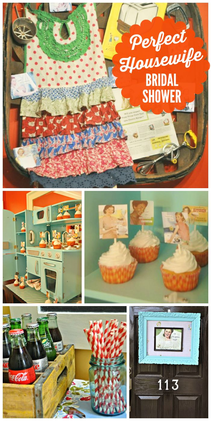 "A 50's inspired ""Perfect Housewife"" bridal shower with vintage kitchen decorations! See more party ideas at CatchMyParty.com!"