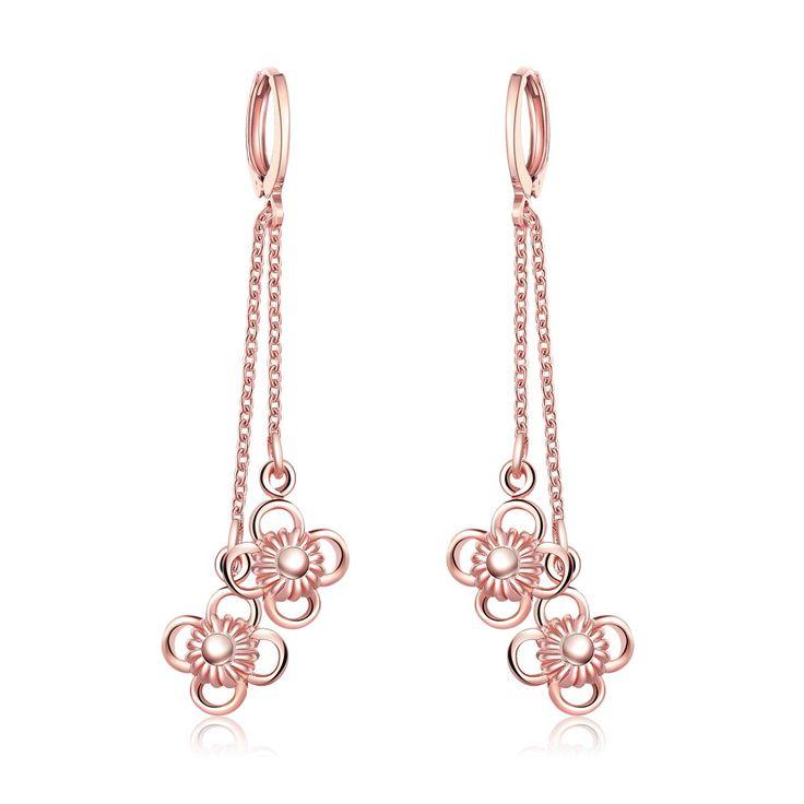 Elegant Fashion Rose Gold Plating Long Flower Drop Earrings Female Girls Wedding Party Dangle Earrings Christmas Gifts Jewelry #Affiliate