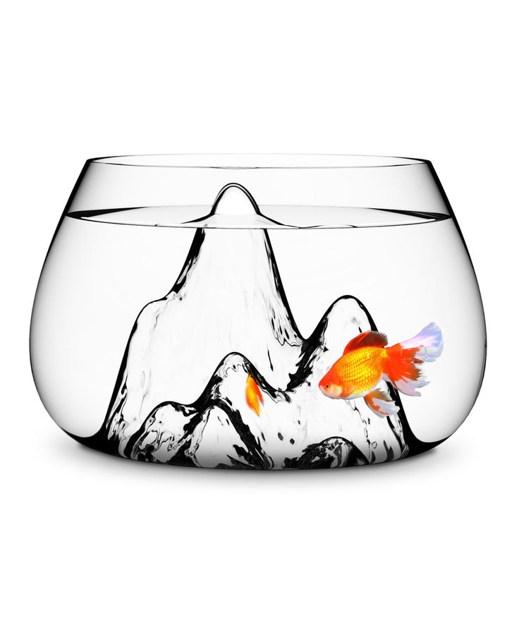 Expeditions to everest are missing the important detail of a flying goldfish that hangs out just above base camp. Conjure up other stories for your fish in this beautifully designed glasswork bowl while sipping wine with friends. The Mountain Design Fishbowl is a living art piece for your home and creates a regular playground for your fish family member.