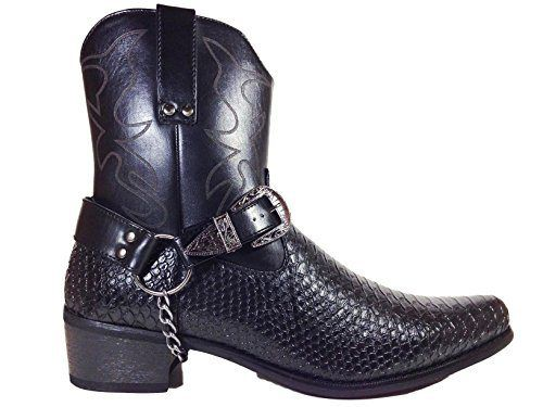 Alberto Fellini Men's Crocodile Prints Western Boots with Side Zipper,belt Buckle and Chain (Jpn) - http://authenticboots.com/alberto-fellini-mens-crocodile-prints-western-boots-with-side-zipperbelt-buckle-and-chain-jpn/