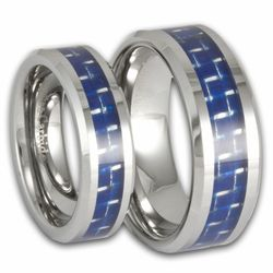 His and Hers Tungsten and Blue Carbon Fiber Wedding Ring Set. Engraving is available for these rings at #ringninja. $109.99.