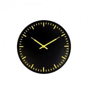 kikkerland swiss station ultra flat wall clock black