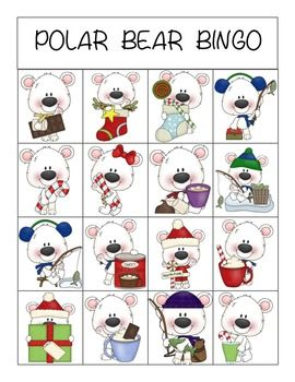Polar Bear BINGO... use to work on visual discrimination and verbalizing skills. Set includes: 5 game boards and calling cards.