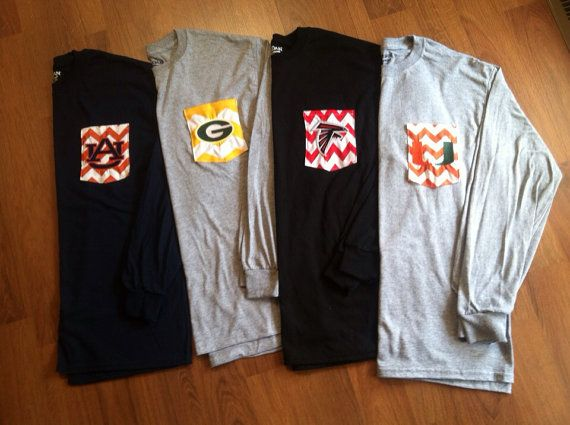 LONG SLEEVED Game Day Personalized Monogrammed T-shirts on Etsy, $22.00.