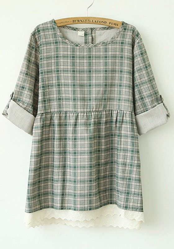Green Plaid Patchwork Lace Loose Flax Blend Blouse