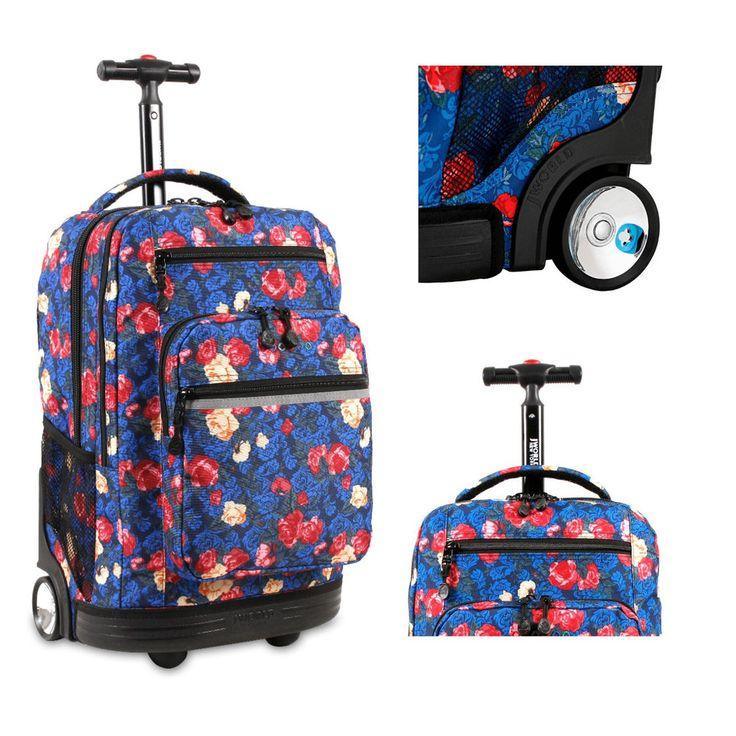 Girls Rolling Backpack Wheeled School Book-Bag Carry Tote Travel Luggage Trolley #Bookbag