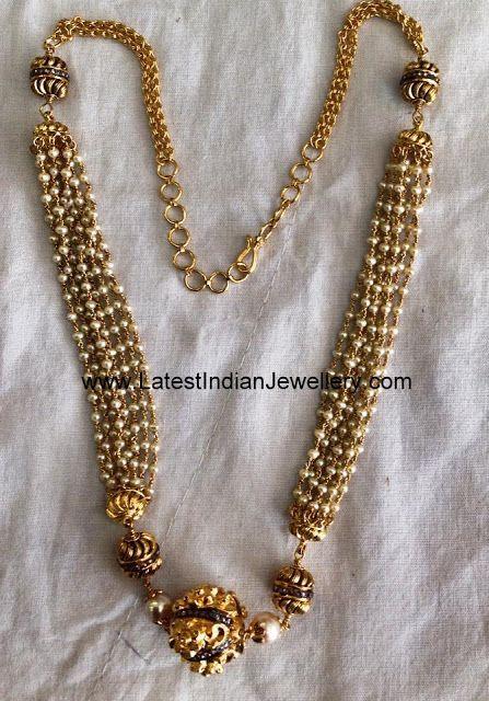 Multi Strand Pearl Balls Necklace