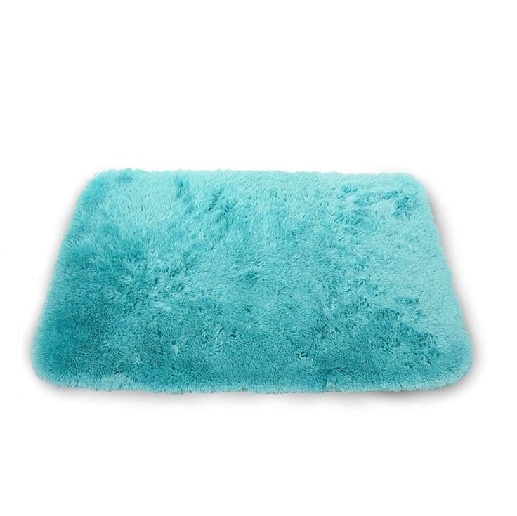Jednolity gładki turkusowy dywanik do łazienki przyjemny w dotyku