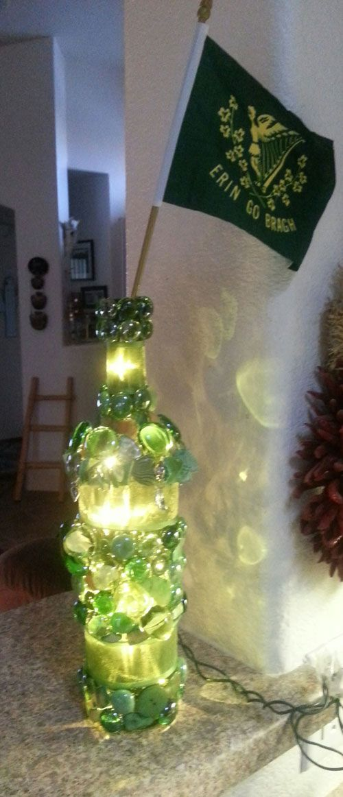 Military themed and St. Patrick's Day lighted bottles | How to Make A Bottle Lamp