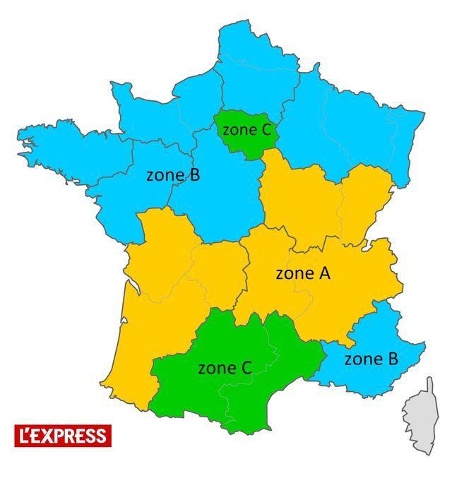 La carte des 3 zones de vacances scolaires. La zone A est en jaune, la zone B en bleu, et la zone C en vert.