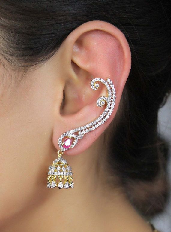 Indian Bollywood Zircons Made Ear Cuff Earring Set American Diamond Jewelry
