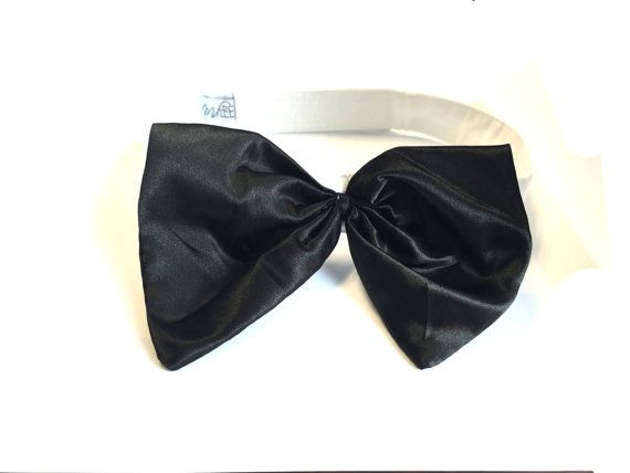 Black Satin Dog Bow Tie by MidleeDesigns on Etsy