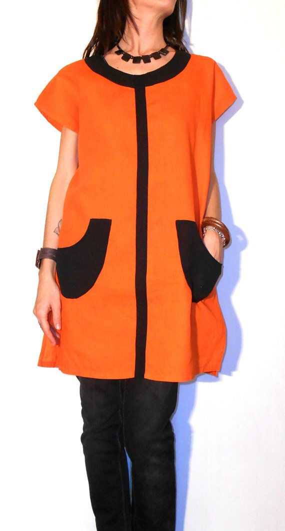 #Tunic #blouse #orange #black #patch #pockets #handmade di #ITINLab